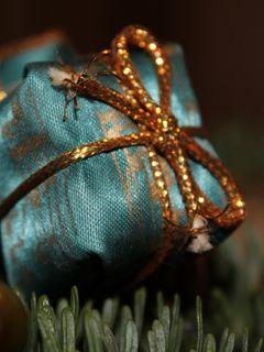 240x320 Wallpaper gift, wrap, ribbon, christmas, new year