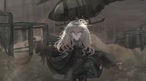 Preview wallpaper girl, alone, tears, helicopter, war, anime