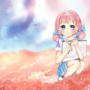 Preview wallpaper girl, anime, art, artist, field