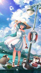 Preview wallpaper girl, anime, hat, dress, penguins, art