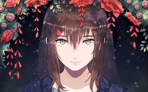 Preview wallpaper girl, anime, smile, sweet, flowers