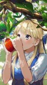 Preview wallpaper girl, apple, garden, anime, art