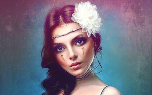Preview wallpaper girl, art, digital art, cute, dress, look