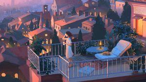 Preview wallpaper girl, balcony, art, solitude, city, evening