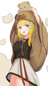 Preview wallpaper girl, bear cub, toy, cute, anime