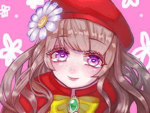 Preview wallpaper girl, beret, flower, cute, anime