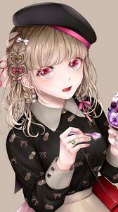 Preview wallpaper girl, beret, ice cream, dessert, anime, art