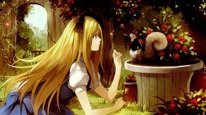 Preview wallpaper girl, blonde, hamster, hat, garden, flowers, talking