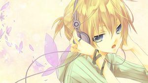 Preview wallpaper girl, blonde, headphones, butterfly, design