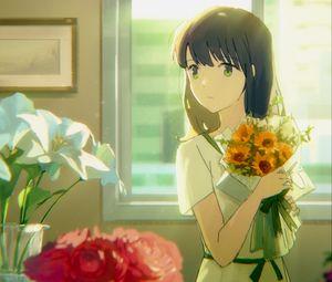 Preview wallpaper girl, bouquet, flowers, anime, art