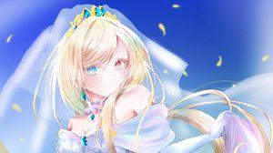 Preview wallpaper girl, bride, heterochromia, anime, art