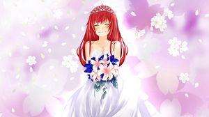 Preview wallpaper girl, bride, smile, bouquet, anime, art