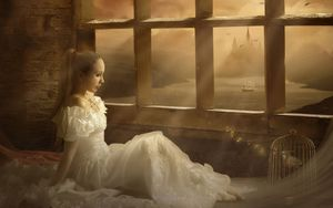 Preview wallpaper girl, bride, window, bird, cage, music, singing, dress