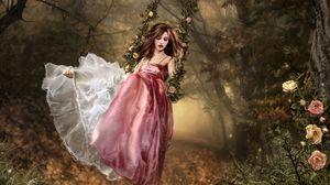Preview wallpaper girl, brunette, dress, garden, swing