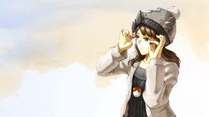 Preview wallpaper girl, brunette, glasses, hat, background