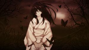 Preview wallpaper girl, brunette, kimonos, butterflies, wind, sadness, night