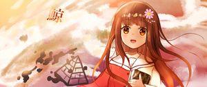 Preview wallpaper girl, brush, artist, clouds, dream, anime