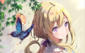 Preview wallpaper girl, butterfly, glance, anime