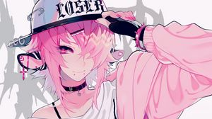 Preview wallpaper girl, cap, anime, pink, style