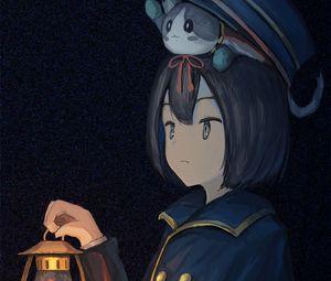 Preview wallpaper girl, cap, kitten, lantern, anime