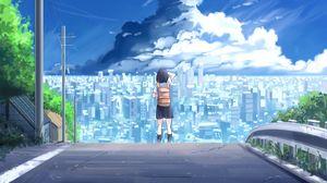 Preview wallpaper girl, city, tornado, anime, art
