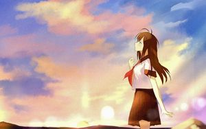 Preview wallpaper girl, coast, clouds, twilight, anime, art