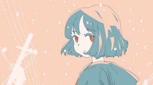 Preview wallpaper girl, coat, walk, snow, winter, anime