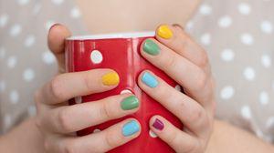 Preview wallpaper girl, cup, hands, dot