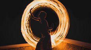 Preview wallpaper girl, dance, freezelight, glow, circle