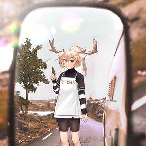 Preview wallpaper girl, deer, horns, road, mirror, anime