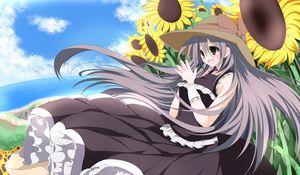 Preview wallpaper girl, delight, hat, sunflower, wind