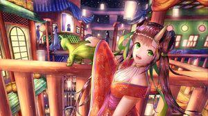 Preview wallpaper girl, demon, horns, holiday, anime, art