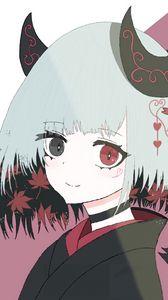 Preview wallpaper girl, demon, horns, kimono, anime