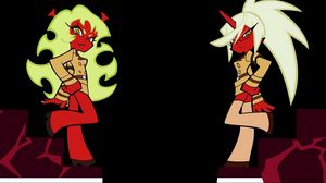 Preview wallpaper girl, devil, legs, anger