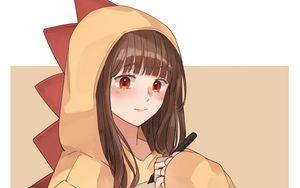 Preview wallpaper girl, dinosaur, costume, artist, anime