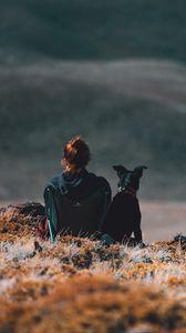 Preview wallpaper girl, dog, friends, mountains, trip