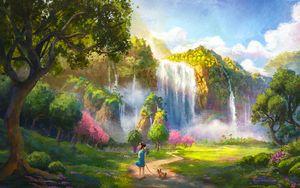 Preview wallpaper girl, dog, waterfall, landscape, art