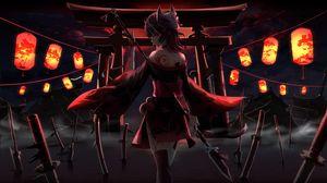 Preview wallpaper girl, dress, ninja, lanterns, anime, art