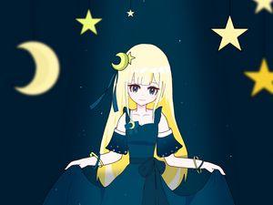 Preview wallpaper girl, dress, moon, stars, anime, art, cartoon