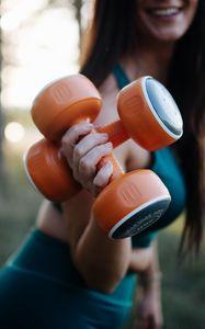 Preview wallpaper girl, dumbbells, fitness, sport