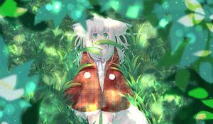 Preview wallpaper girl, ears, forest, grass, fantasy, anime, art
