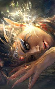 Preview wallpaper girl, elf, ears, art, light, leaves