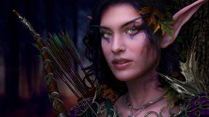 Preview wallpaper girl, elfeyka, makeup, beam, arrows
