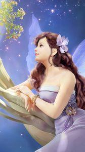 Preview wallpaper girl, fantasy, fairy, tree