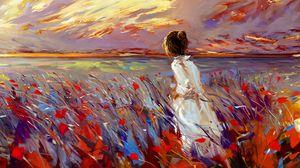 Preview wallpaper girl, field, flowers, art, bright, grass