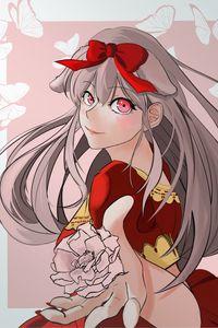 Preview wallpaper girl, flower, dress, anime, art, red