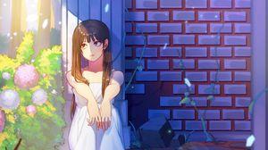 Preview wallpaper girl, sad, garden, anime, art