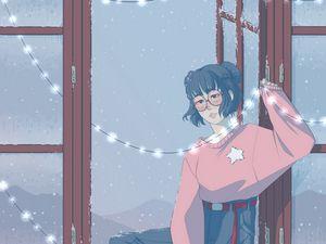 Preview wallpaper girl, garland, window, snow, art