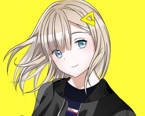Preview wallpaper girl, gesture, smile, anime, art, cartoon, yellow