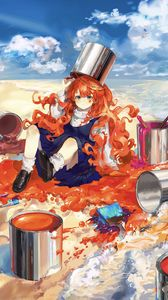 Preview wallpaper girl, redhead, paint, colorful, anime, art
